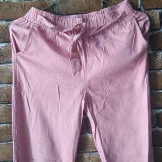Celana joger pink cute