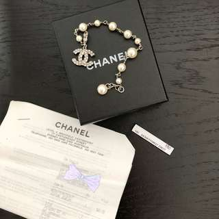 Auth Preowned Chanel pearl Bracelet CC Logo Crystal SYD pickup