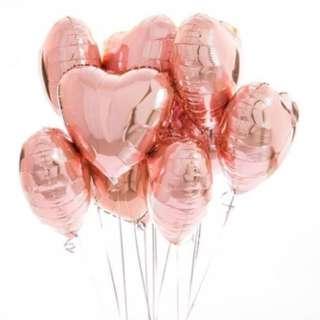 Rose gold heart birthday balloon