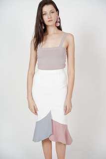 MDS Color-Block Mermaid Skirt in White