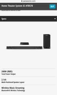 New Panasonic Soundbar SC-HTB570