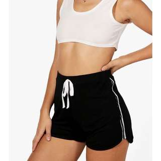 BooHoo Tiffany Jersey Sports Trim Runner Shorts