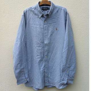 Ralph Lauren Men Size XL blue long sleeve shirt. Made in the Philippines, In good condition.