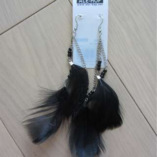 Black Feather Drop Earrings (Brand New)