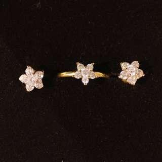 The JEWELLER 18k Saudi Gold Set (Earrings + Ring)