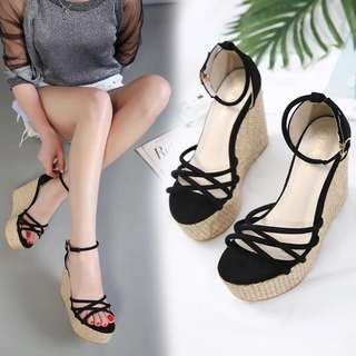 2018 new high-heeled wedge sandals in spring and summer female shoes