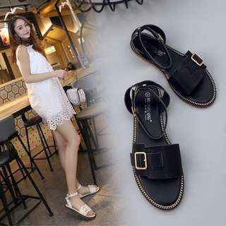Roman sandals female summer 2018 new flat with wild students belt buckle sandals buckle with flat shoes