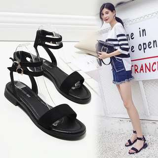 New sandals female summer flat simple flat with casual shoes