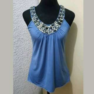WA490 BCX Blue Beaded Halter Top (see pics for Measurements and flaw)
