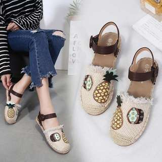 2018 new flat with the national wind casual Baotou sandals half care hollow shoes