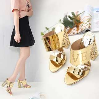 2018 new crystal with open-toe sandals with high-heeled women's singles shoes