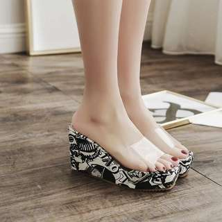Europe and the United States 18 spring and summer new slope with high-heeled graffiti waterproof platform fish mouth shoes transparent crystal glass rubber slippers