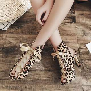 Foreign trade explosions Europe and the United States 18 new Leopard denim fine with high-heeled sandals
