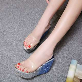 2018 New Wedge Gradient Slipper High-heeled Platform Sequins Waterproof Table Sandals and slippers