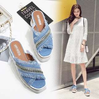 2018 Summer New Korean Muffin Thick crust shoes Fringe Rhinestone Cowboy Cross with Wedge Square head Sandals and slippers