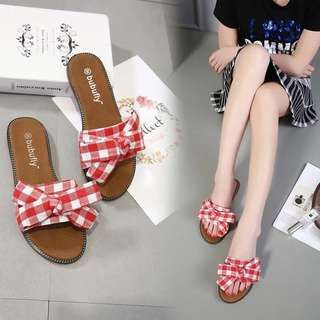 2018 Travel Cork Sandals and Slippers Seaside Beach Office Holidays Bow Slippers Flat Outer Wear