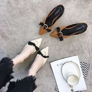 2018 spring and summer new shoes pointed bow V fashion wild Korean retro shoes