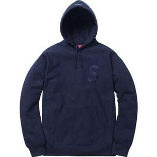 Supreme Tonal S Logo Hooded 帽Tee 深藍M