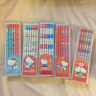 Vintage 1985 - 1990 Sanrio Hello Kitty 鉛筆五盒