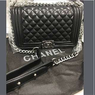 Chanel le boy small medium black bag