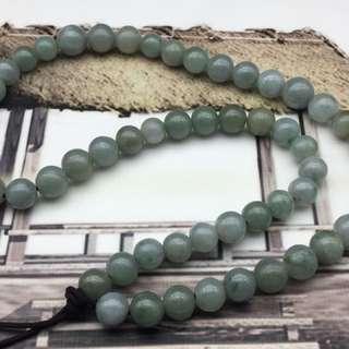 舊工天然翡翠糯種黃綠雙色大珠頸串