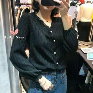 📸實拍❤韓國花邊x珍珠鈕針織外套