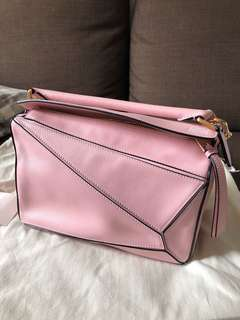 Real Loewe Puzzle Bag Small Pink Color 95% new