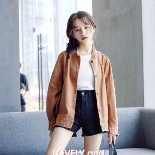 🚚 韓版秋裝新款寬鬆毛邊刺繡糖果色牛仔外套女短款長袖小風衣潮