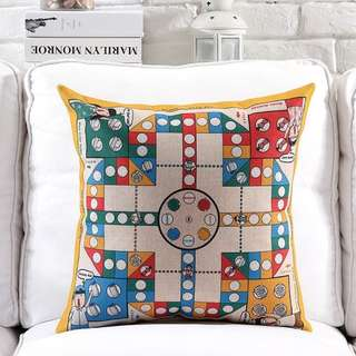 Vintage 80s Childhood Board Game Hemp Cotton Cushion Cover