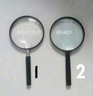 Kaca pembesar magnifying glass NOMOR 2 READY (harga pas)  Diameter + - 10cm dan 90mm panjang dari gagang ke kaca 20cm   Harga tertera untuk satuan