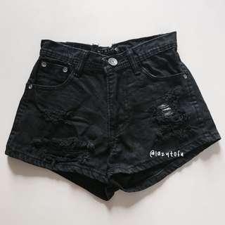 instock!! black ripped high waist shorts