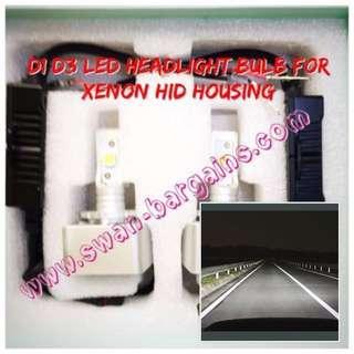 Ultra-Bright D1S D1R D1C D3S D3R D3C 6500K Crystal White LED Headlight Bulb for Xenon HID Headlamp Enclosure