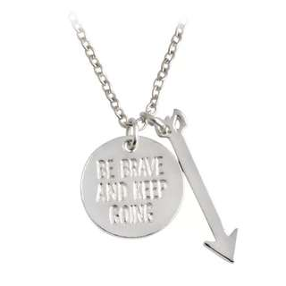 """Be brave and keep going"" Motivational Quote Pendant Necklace"