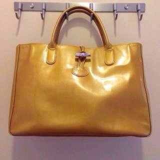 LONGCHAMP Leather Handbag Tote Bag Vintage Gold