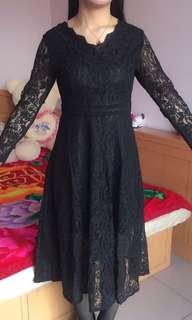 大碼美女/胖mm  - 黑色厘士中袖連身裙