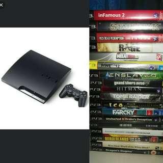 PS3 Slim with 18 Original Games