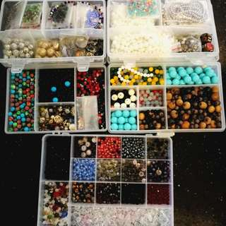 Beads pearls stones charms crystals wood