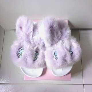 W❤️C Esther Kim Fuzzy Bunny Slippers Fur Slides Estherloveschuu