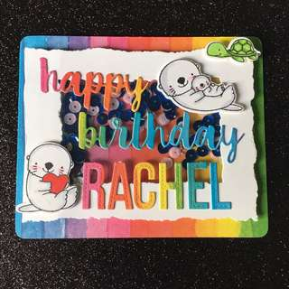 Otter birthday shaker card