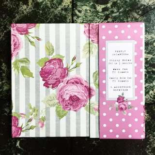 Pink notepads and sticky notes