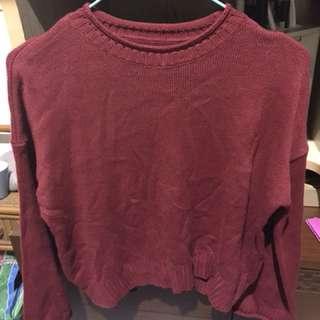 暗紅色薄針織寬袖衣