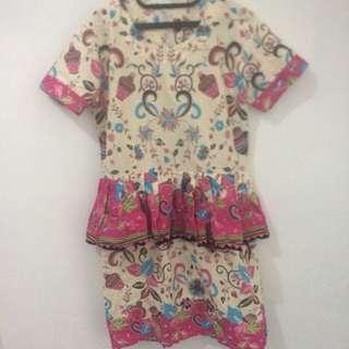 Reprice sist! Batik Dress XL peplum