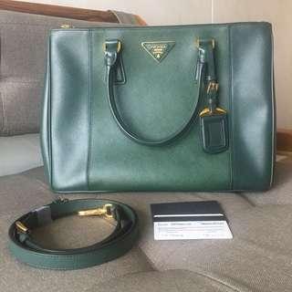 Preloved Green Prada Saffiano Lux Bag