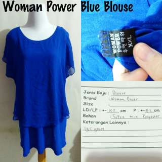 Woman Power Blue Blouse | Pakaian Wanita | Atasan Import