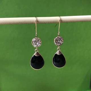 BN black earrings w rose filigree