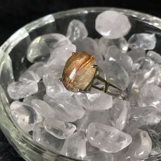 Rutilated quartz copper ring