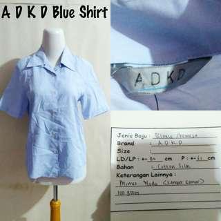 A D K D Blue Shirt | Pakaian Wanita | Atasan Import