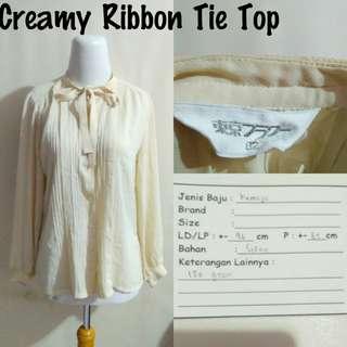 Creamy Ribbon Tie Top | Pakaian Wanita | Atasan Import