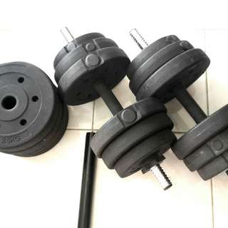 Rubber Dumbell 30kg with free connector