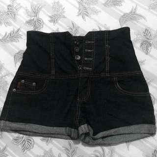 Dark navy blue high waist shorts